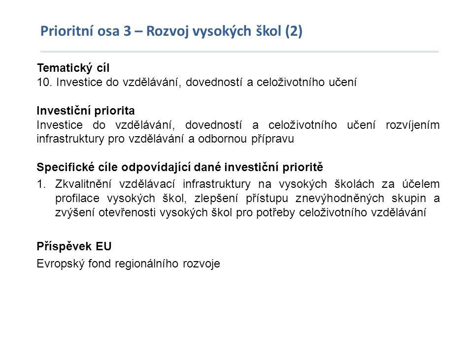 Prioritní osa 3 – Rozvoj vysokých škol (2) Tematický cíl 10. Investice do vzdělávání, dovedností a celoživotního učení Investiční priorita Investice d