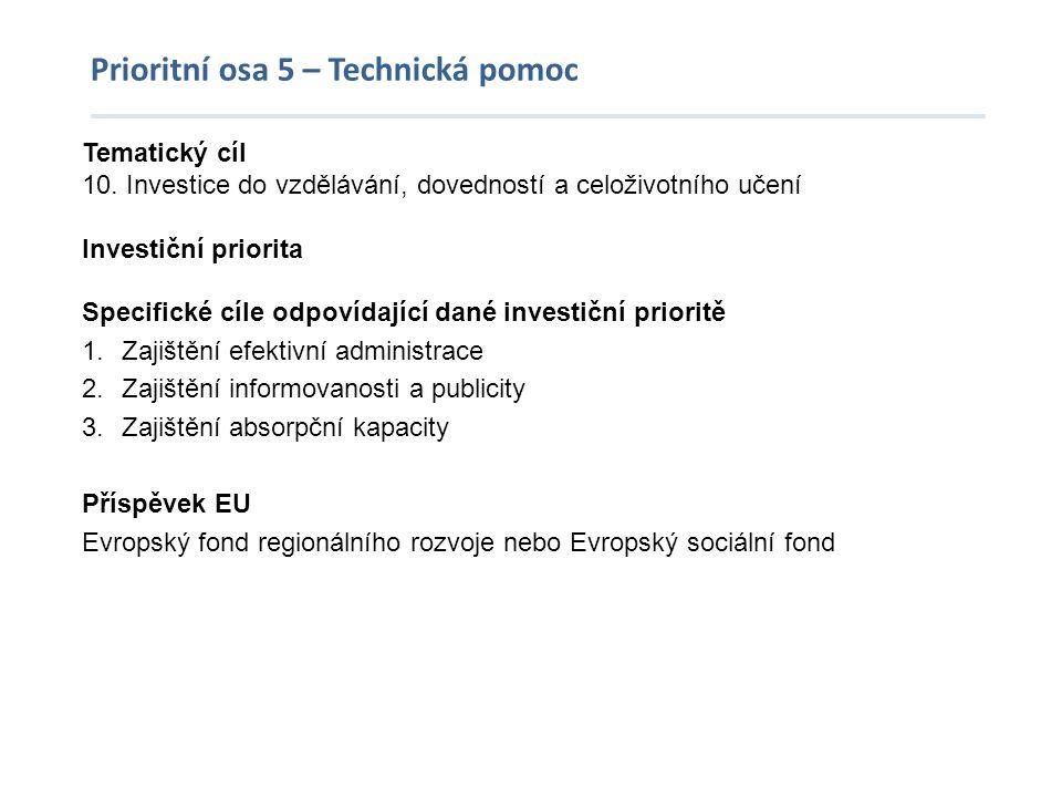 Prioritní osa 5 – Technická pomoc Tematický cíl 10. Investice do vzdělávání, dovedností a celoživotního učení Investiční priorita Specifické cíle odpo