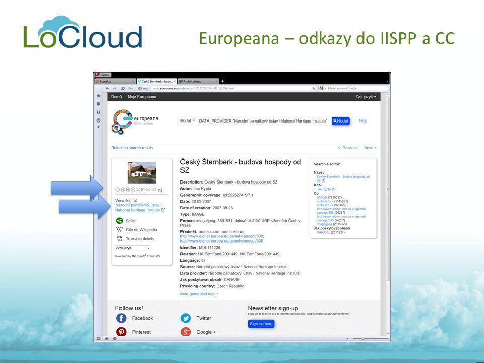 Europeana – odkazy do IISPP a CC