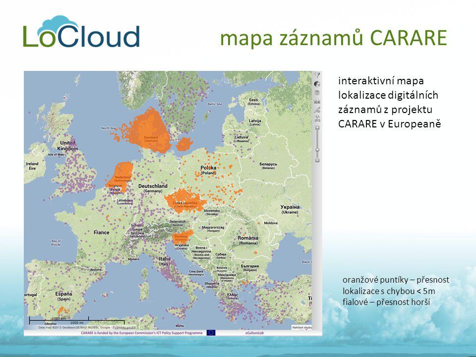 mapa záznamů CARARE oranžové puntíky – přesnost lokalizace s chybou < 5m fialové – přesnost horší interaktivní mapa lokalizace digitálních záznamů z p