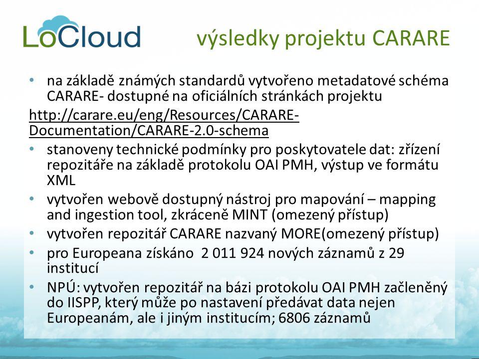 • na základě známých standardů vytvořeno metadatové schéma CARARE- dostupné na oficiálních stránkách projektu http://carare.eu/eng/Resources/CARARE- D