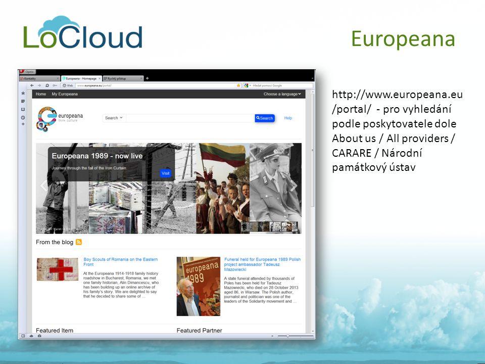 Europeana http://www.europeana.eu /portal/ - pro vyhledání podle poskytovatele dole About us / All providers / CARARE / Národní památkový ústav