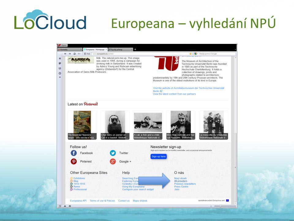Europeana – vyhledání NPÚ