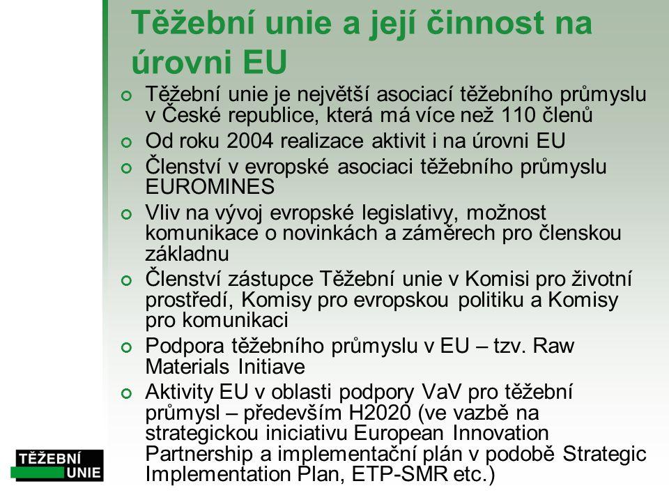 Těžební unie a její činnost na úrovni EU Těžební unie je největší asociací těžebního průmyslu v České republice, která má více než 110 členů Od roku 2