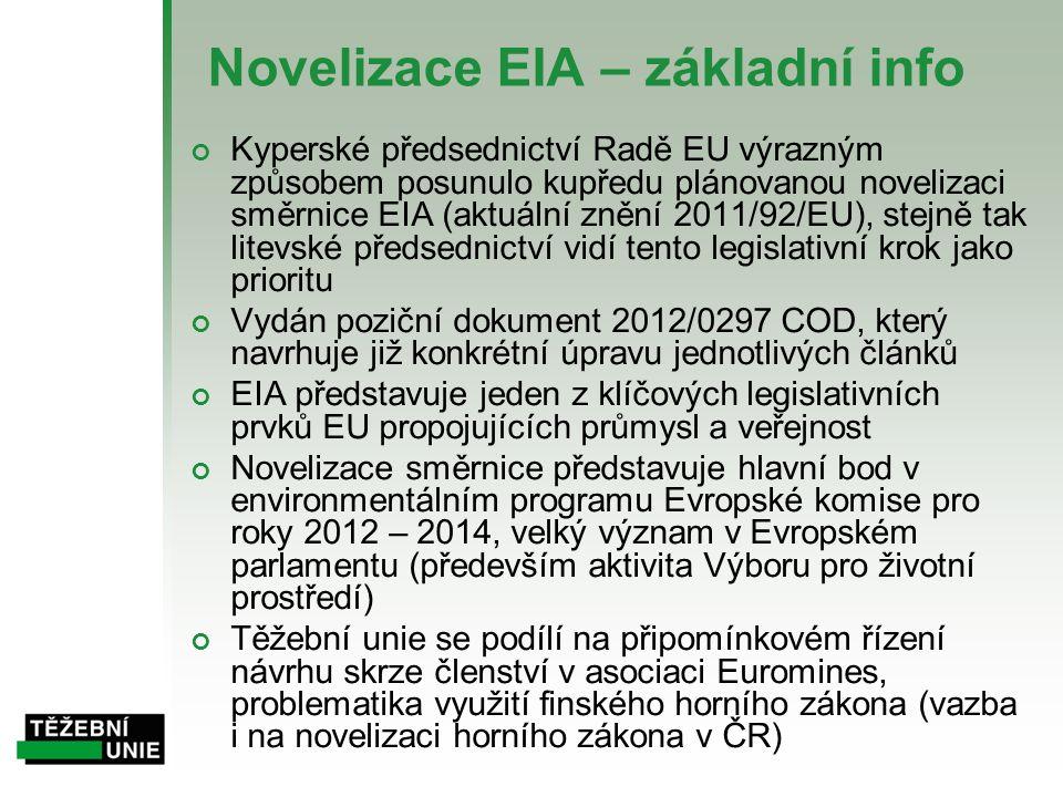 Novelizace EIA – základní info Kyperské předsednictví Radě EU výrazným způsobem posunulo kupředu plánovanou novelizaci směrnice EIA (aktuální znění 20
