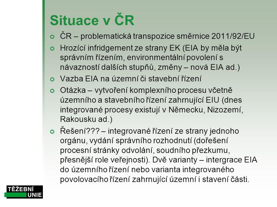 Situace v ČR ČR – problematická transpozice směrnice 2011/92/EU Hrozící infridgement ze strany EK (EIA by měla být správním řízením, environmentální p