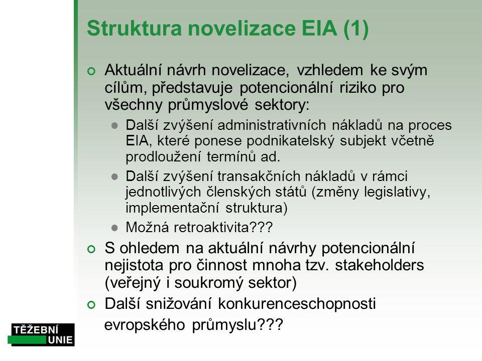 Struktura novelizace EIA (1) Aktuální návrh novelizace, vzhledem ke svým cílům, představuje potencionální riziko pro všechny průmyslové sektory:  Dal