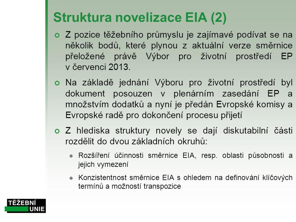 Struktura novelizace EIA (2) Z pozice těžebního průmyslu je zajímavé podívat se na několik bodů, které plynou z aktuální verze směrnice přeložené práv