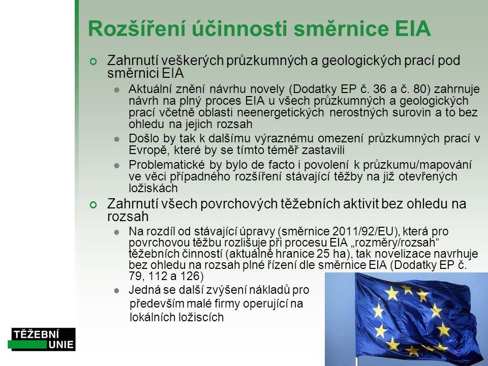 Rozšíření účinnosti směrnice EIA Zahrnutí veškerých průzkumných a geologických prací pod směrnici EIA  Aktuální znění návrhu novely (Dodatky EP č. 36