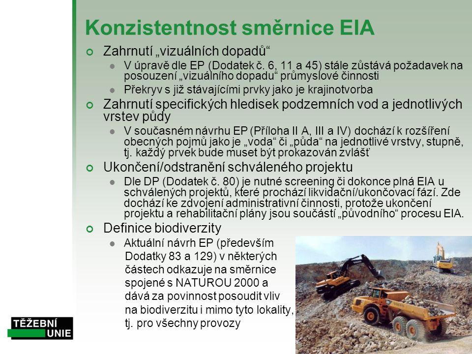 """Konzistentnost směrnice EIA Zahrnutí """"vizuálních dopadů""""  V úpravě dle EP (Dodatek č. 6, 11 a 45) stále zůstává požadavek na posouzení """"vizuálního do"""