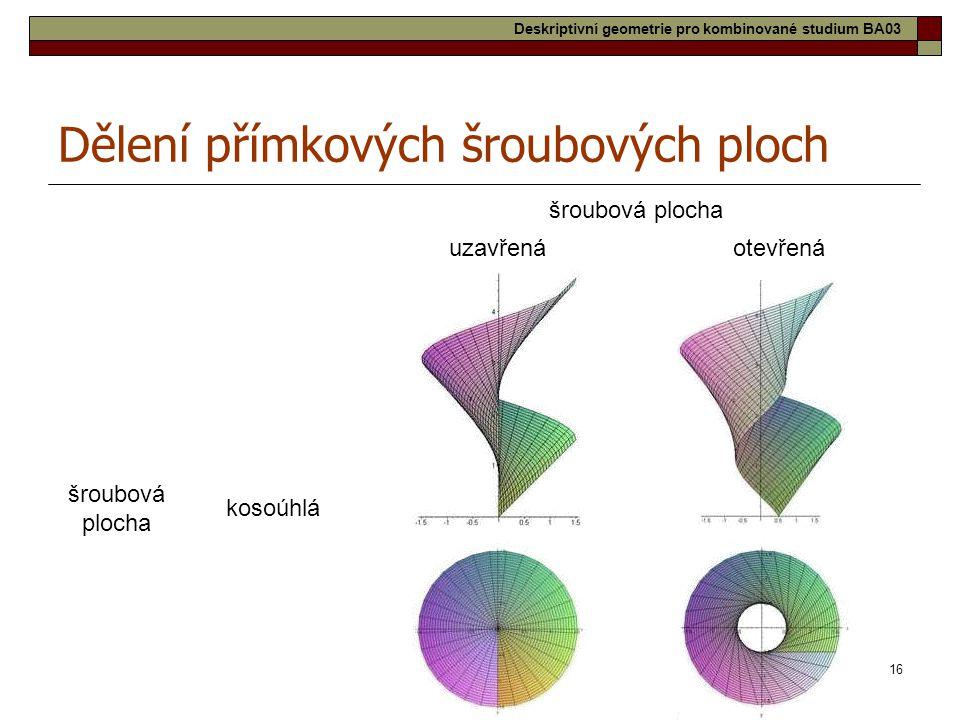 16 šroubová plocha uzavřenáotevřená šroubová plocha kosoúhlá Dělení přímkových šroubových ploch Deskriptivní geometrie pro kombinované studium BA03