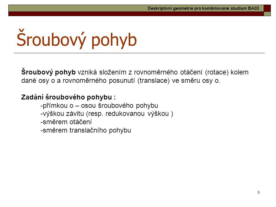 30 Tobogán Deskriptivní geometrie pro kombinované studium BA03