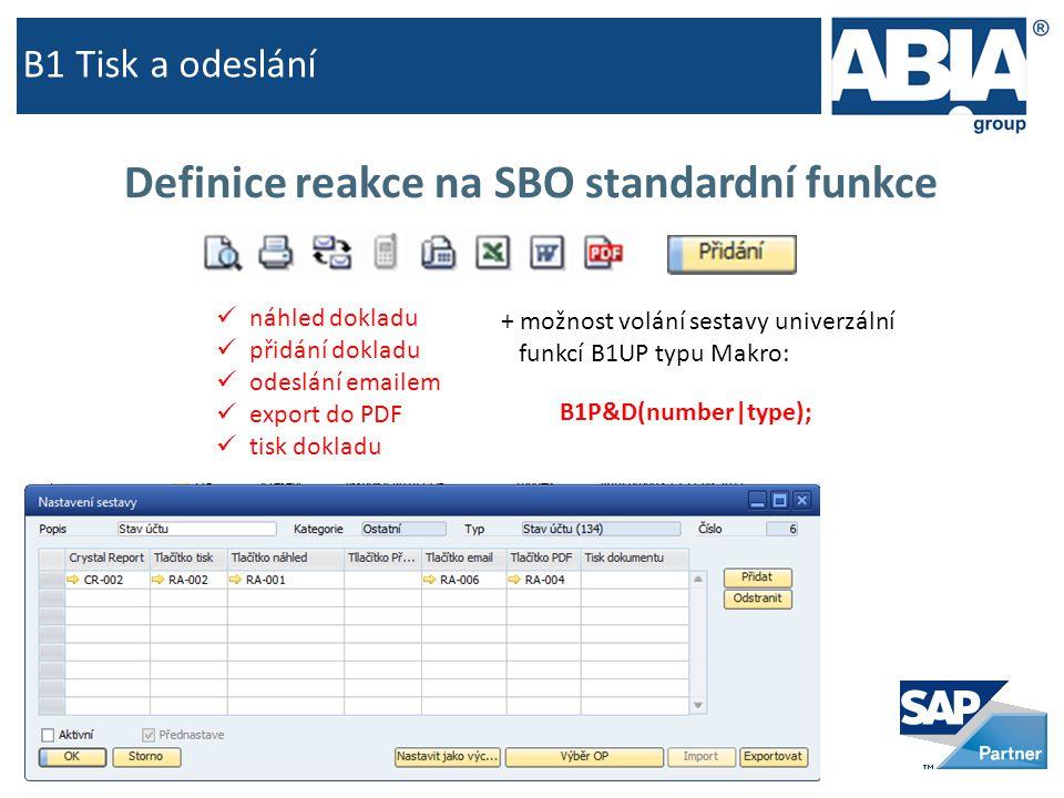 B1 Tisk a odeslání Definice reakce na SBO standardní funkce  náhled dokladu  přidání dokladu  odeslání emailem  export do PDF  tisk dokladu B1P&D(number|type); + možnost volání sestavy univerzální funkcí B1UP typu Makro: