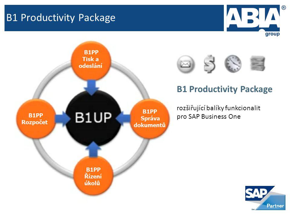 B1 Productivity Package rozšiřující balíky funkcionalit pro SAP Business One
