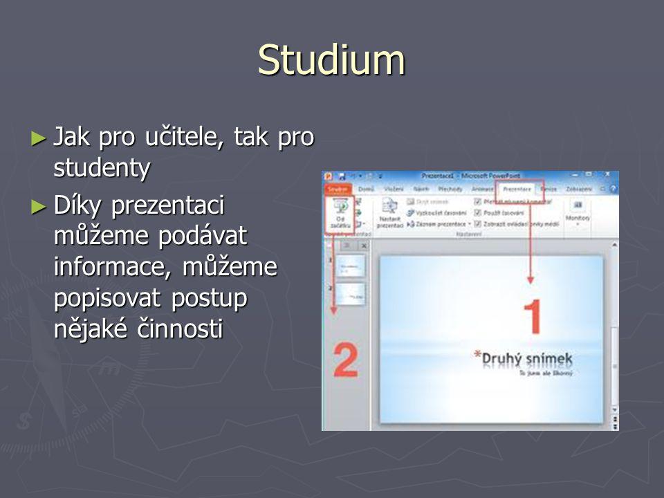 Studium ► Jak pro učitele, tak pro studenty ► Díky prezentaci můžeme podávat informace, můžeme popisovat postup nějaké činnosti