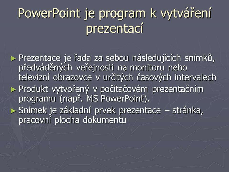 PowerPoint je program k vytváření prezentací ► Prezentace je řada za sebou následujících snímků, předváděných veřejnosti na monitoru nebo televizní ob