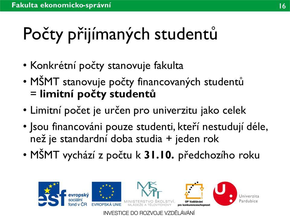 16 Počty přijímaných studentů • Konkrétní počty stanovuje fakulta • MŠMT stanovuje počty financovaných studentů = limitní počty studentů • Limitní poč