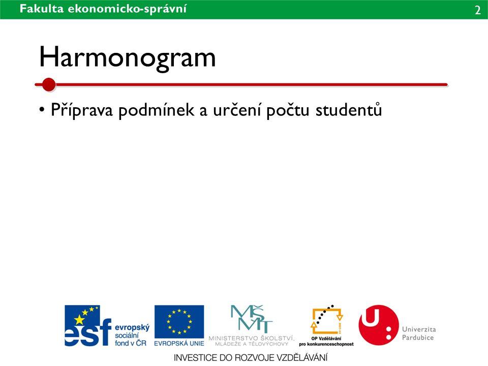 2 Harmonogram • Příprava podmínek a určení počtu studentů