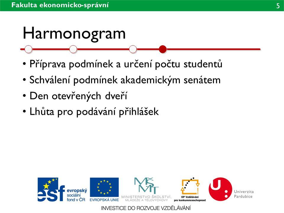 5 Harmonogram • Příprava podmínek a určení počtu studentů • Schválení podmínek akademickým senátem • Den otevřených dveří • Lhůta pro podávání přihláš