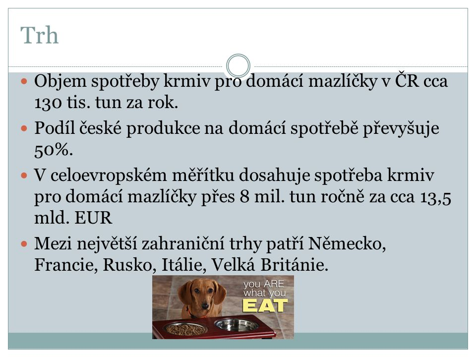Trh  Objem spotřeby krmiv pro domácí mazlíčky v ČR cca 130 tis. tun za rok.  Podíl české produkce na domácí spotřebě převyšuje 50%.  V celoevropské