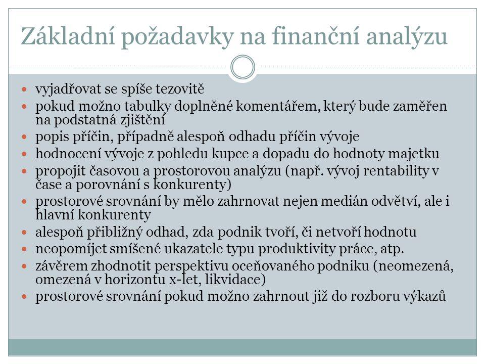 Základní požadavky na finanční analýzu  vyjadřovat se spíše tezovitě  pokud možno tabulky doplněné komentářem, který bude zaměřen na podstatná zjišt