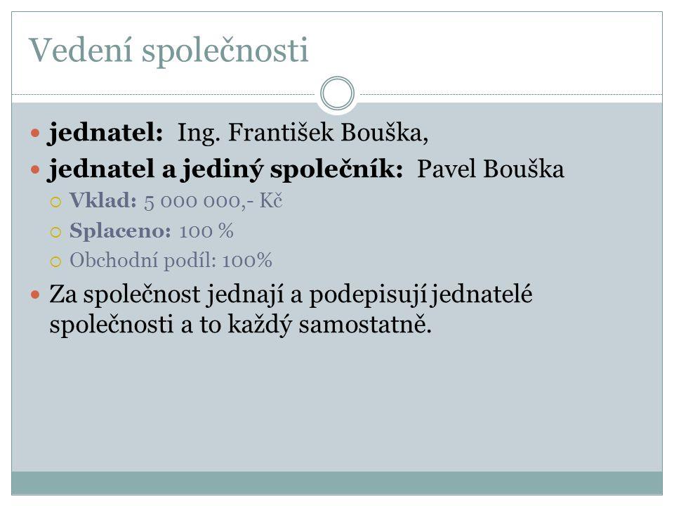 Vedení společnosti  jednatel: Ing. František Bouška,  jednatel a jediný společník: Pavel Bouška  Vklad: 5 000 000,- Kč  Splaceno: 100 %  Obchodní