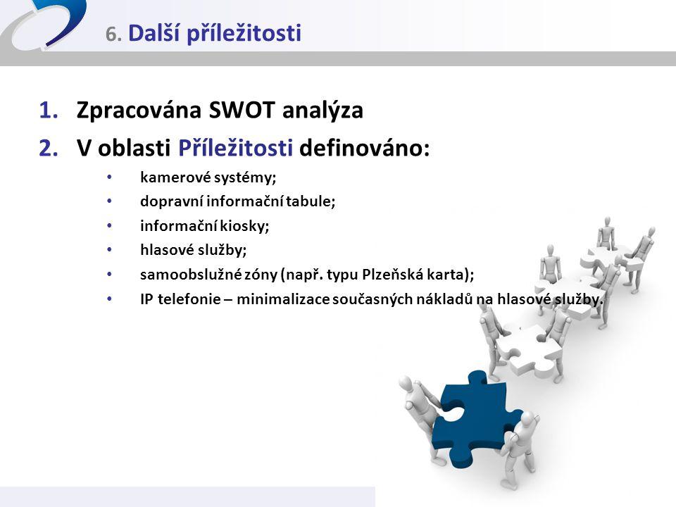 6. Další příležitosti 1.Zpracována SWOT analýza 2.V oblasti Příležitosti definováno: • kamerové systémy; • dopravní informační tabule; • informační ki