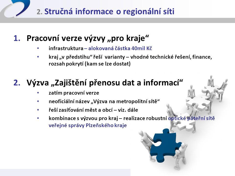 """2. Stručná informace o regionální síti 1.Pracovní verze výzvy """"pro kraje"""" • infrastruktura – alokovaná částka 40mil Kč • kraj """"v předstihu"""" řeší varia"""