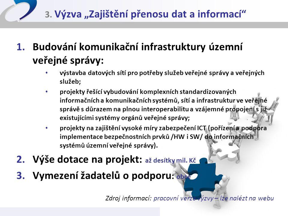 """3. Výzva """"Zajištění přenosu dat a informací"""" 1.Budování komunikační infrastruktury územní veřejné správy: • výstavba datových sítí pro potřeby služeb"""