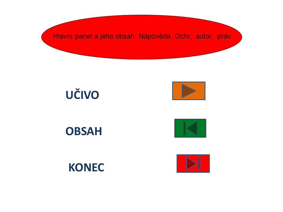 UČIVO OBSAH KONEC Hlavní panel a jeho obsah. Nápověda. Ochr, autor. práv.