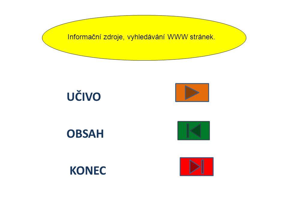 UČIVO OBSAH KONEC Informační zdroje, vyhledávání WWW stránek.