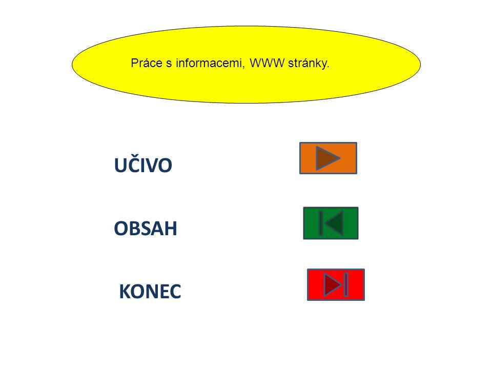 UČIVO OBSAH KONEC Práce s informacemi, WWW stránky.