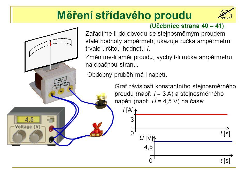 Měření střídavého proudu (Učebnice strana 40 – 41) Zařadíme-li do obvodu se stejnosměrným proudem stálé hodnoty ampérmetr, ukazuje ručka ampérmetru trvale určitou hodnotu I.