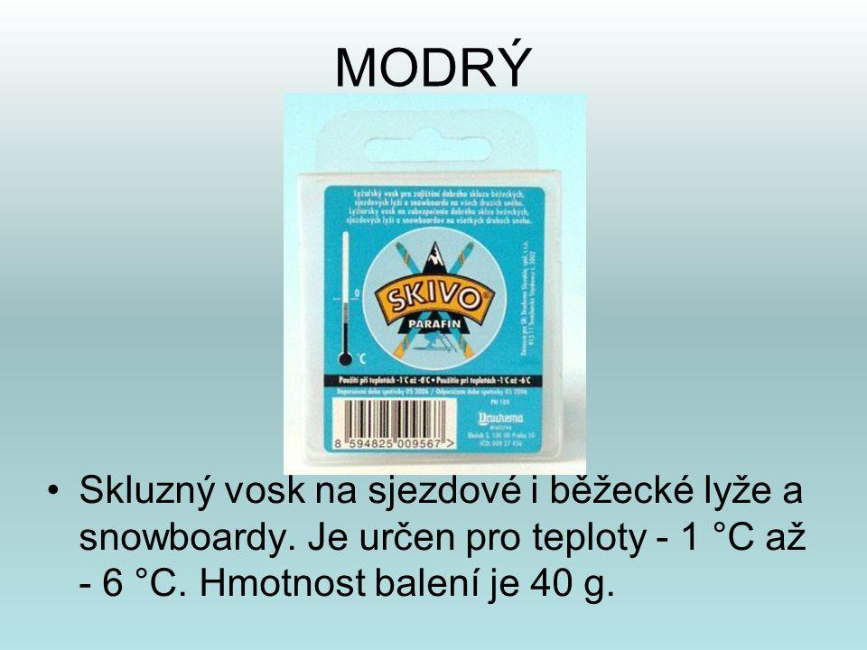 MODRÝ •Skluzný vosk na sjezdové i běžecké lyže a snowboardy. Je určen pro teploty - 1 °C až - 6 °C. Hmotnost balení je 40 g.
