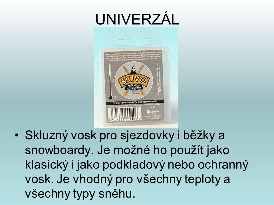 UNIVERZÁL •Skluzný vosk pro sjezdovky i běžky a snowboardy. Je možné ho použít jako klasický i jako podkladový nebo ochranný vosk. Je vhodný pro všech