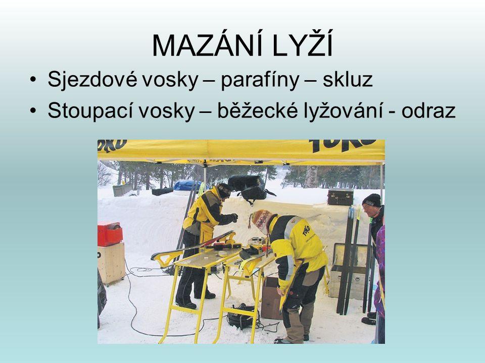 MAZÁNÍ LYŽÍ •Sjezdové vosky – parafíny – skluz •Stoupací vosky – běžecké lyžování - odraz