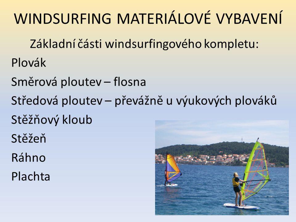 WINDSURFING MATERIÁLOVÉ VYBAVENÍ Základní části windsurfingového kompletu: Plovák Směrová ploutev – flosna Středová ploutev – převážně u výukových plo
