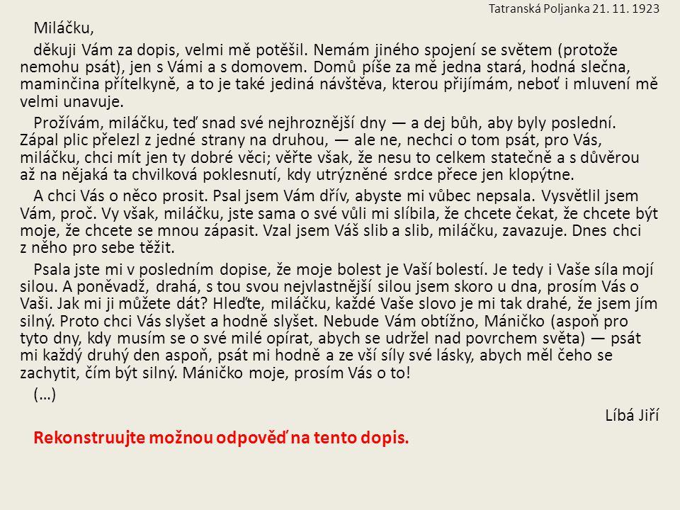 Tatranská Poljanka 21. 11. 1923 Miláčku, děkuji Vám za dopis, velmi mě potěšil. Nemám jiného spojení se světem (protože nemohu psát), jen s Vámi a s d