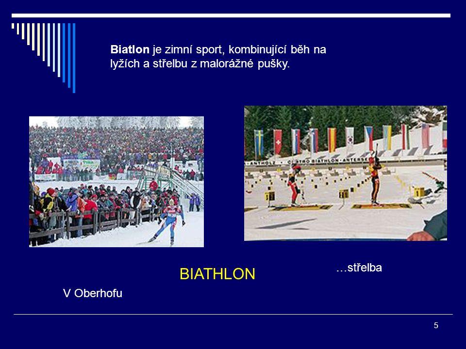 Biatlon je zimní sport, kombinující běh na lyžích a střelbu z malorážné pušky.