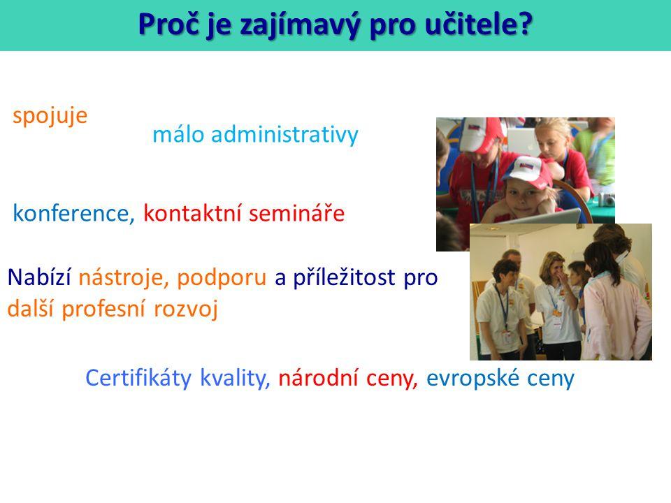 Nabízí nástroje, podporu a příležitost pro další profesní rozvoj spojuje konference, kontaktní semináře Certifikáty kvality, národní ceny, evropské ceny Proč je zajímavý pro učitele.