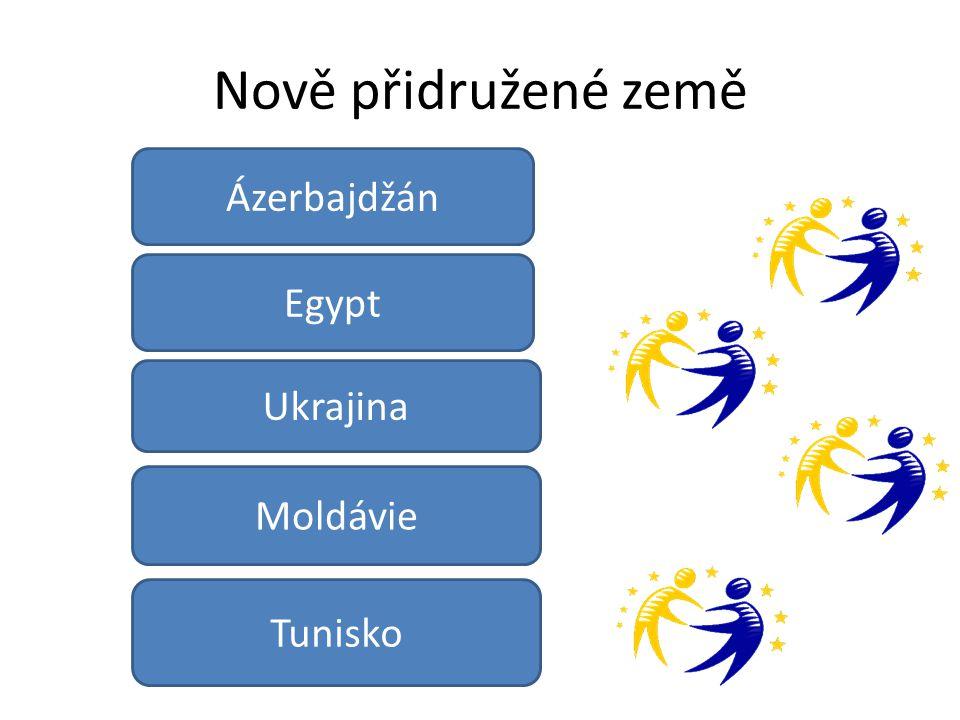 Nově přidružené země Egypt Moldávie Ukrajina Tunisko Ázerbajdžán