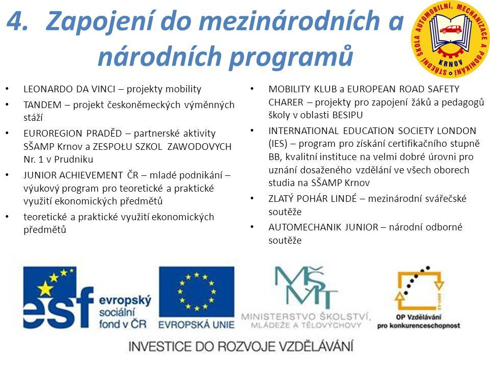 4.Zapojení do mezinárodních a národních programů • LEONARDO DA VINCI – projekty mobility • TANDEM – projekt českoněmeckých výměnných stáží • EUROREGIO