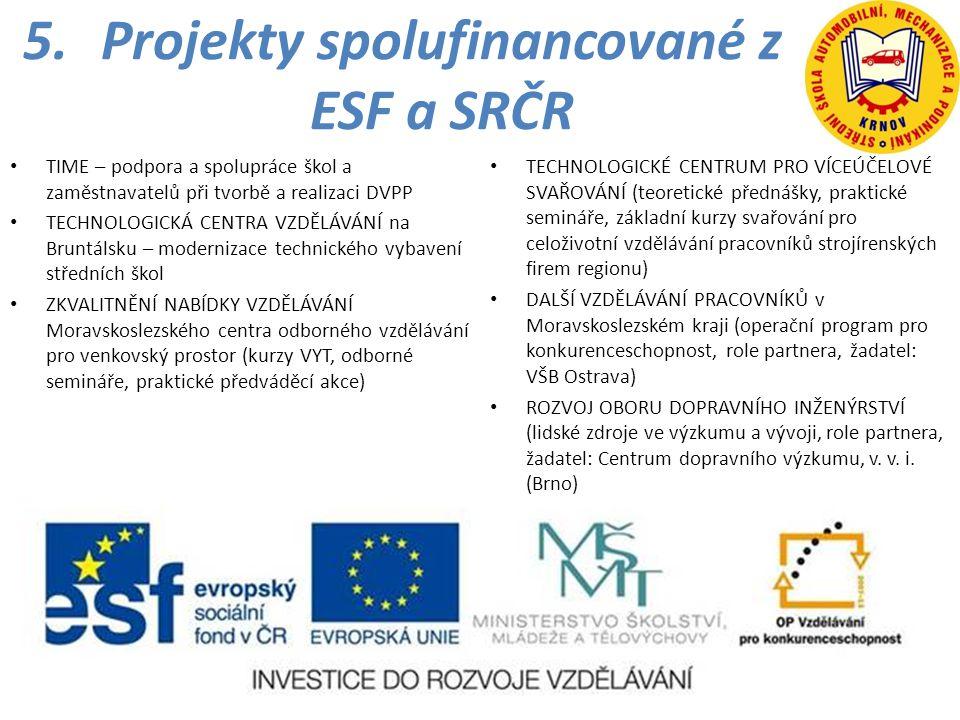 5.Projekty spolufinancované z ESF a SRČR • TIME – podpora a spolupráce škol a zaměstnavatelů při tvorbě a realizaci DVPP • TECHNOLOGICKÁ CENTRA VZDĚLÁ