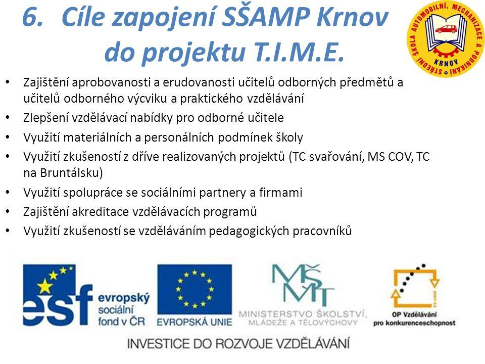 6.Cíle zapojení SŠAMP Krnov do projektu T.I.M.E. • Zajištění aprobovanosti a erudovanosti učitelů odborných předmětů a učitelů odborného výcviku a pra