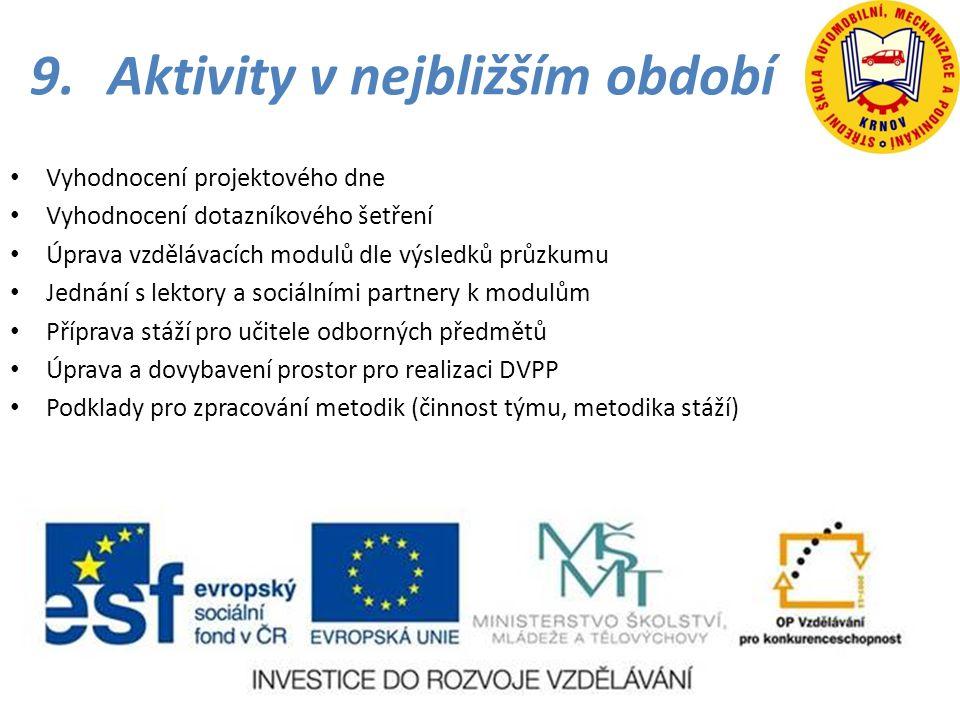9.Aktivity v nejbližším období • Vyhodnocení projektového dne • Vyhodnocení dotazníkového šetření • Úprava vzdělávacích modulů dle výsledků průzkumu •