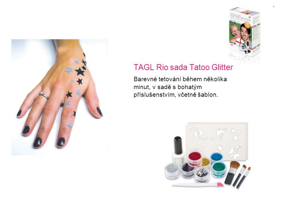 TAGL Rio sada Tatoo Glitter Barevné tetování během několika minut, v sadě s bohatým příslušenstvím, včetně šablon.
