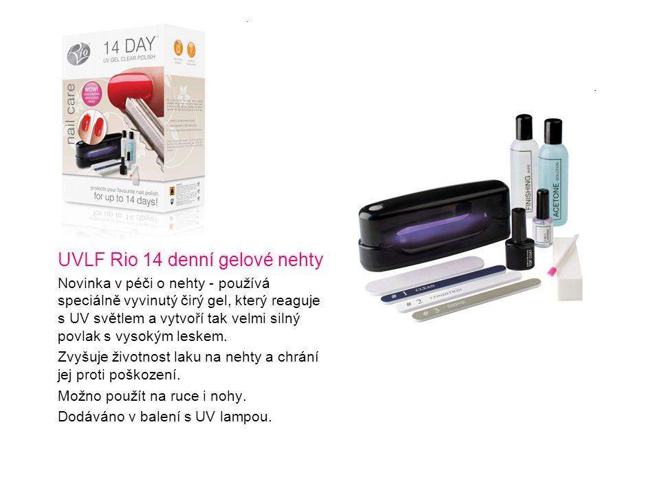 UVLF Rio 14 denní gelové nehty Novinka v péči o nehty - používá speciálně vyvinutý čirý gel, který reaguje s UV světlem a vytvoří tak velmi silný povl