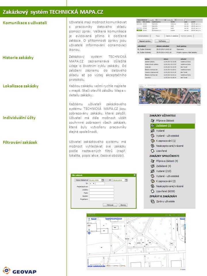 Zakázkový systém TECHNICKÁ MAPA.CZ Komunikace s uživateli Lokalizace zakázky Uživatelé mají možnost komunikovat s pracovníky datového skladu pomocí zp