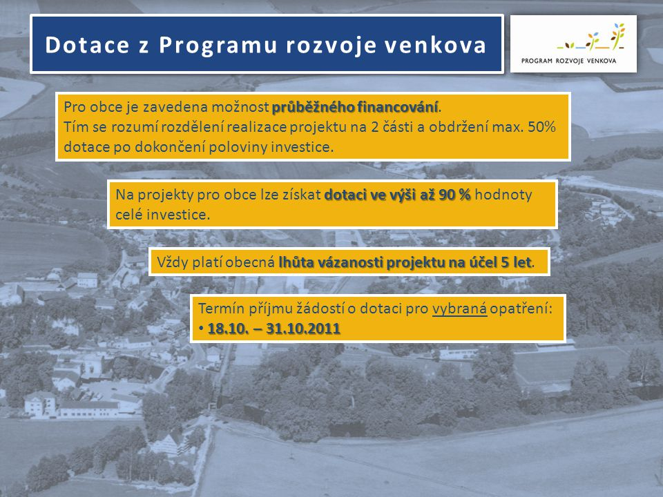 místních komunikací • budování a obnova místních komunikací III.