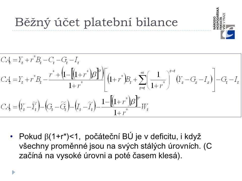 Běžný účet platební bilance •Pokud  (1+r*)<1, počáteční BÚ je v deficitu, i když všechny proměnné jsou na svých stálých úrovních. (C začíná na vysoké